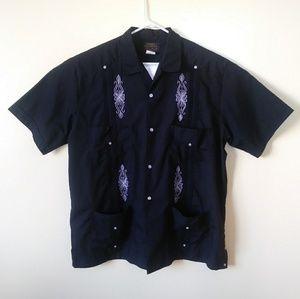 Black Guayabera Size 4XL Button Down Shirt